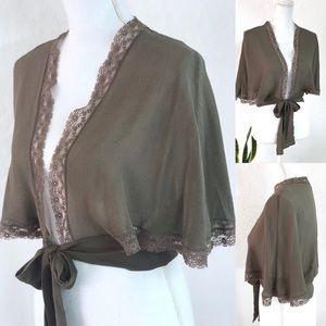 100% Silk Wrap Cropped Poncho Size XS/S